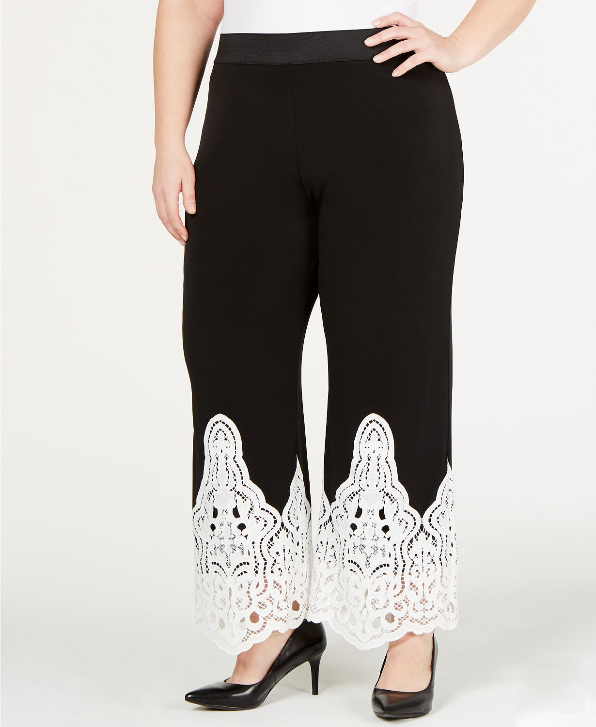 Alfani Plus Size Lace-Trim Pull-On Pants