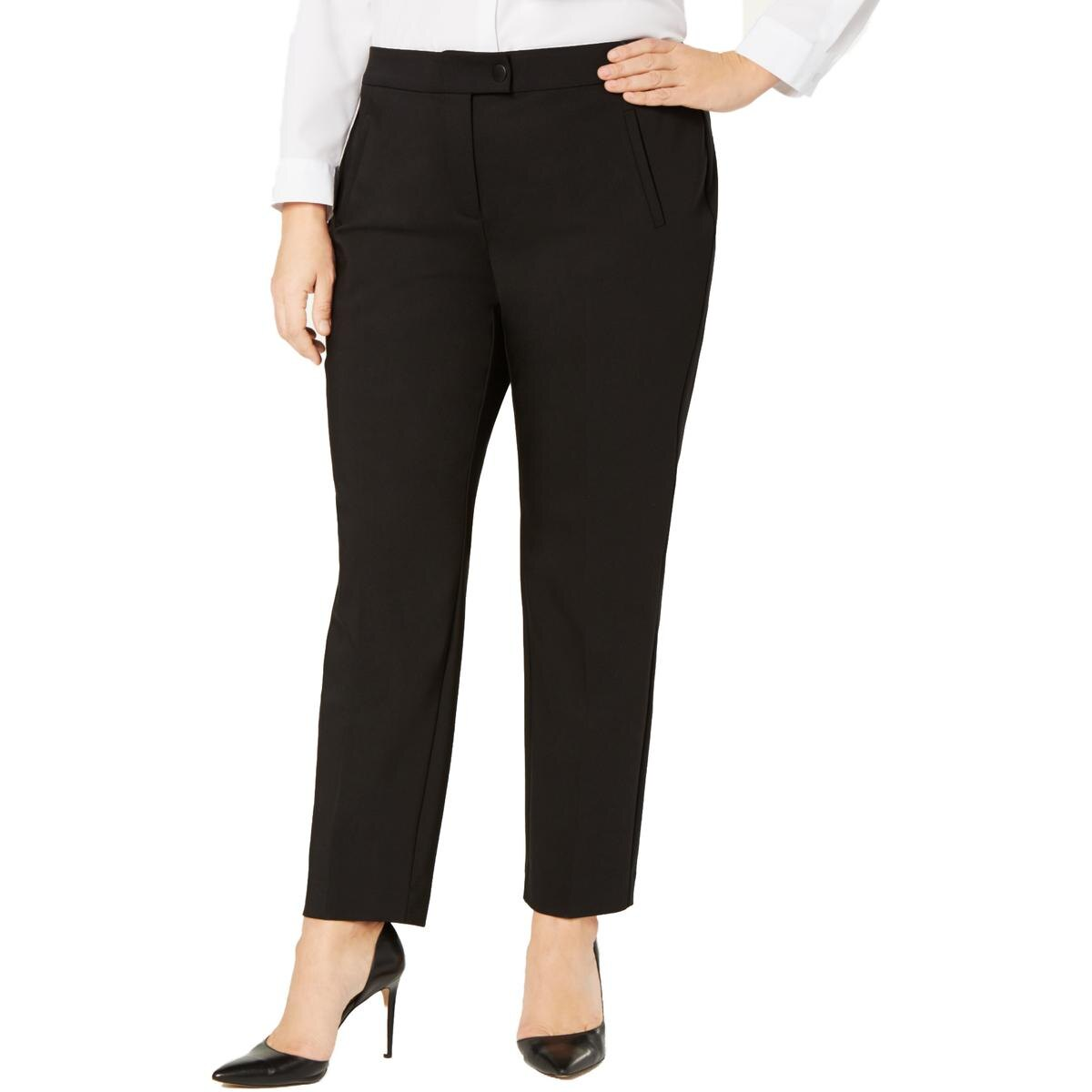 Alfani Womens Plus Slim Leg Tummy Control Dress Pants Plus Size