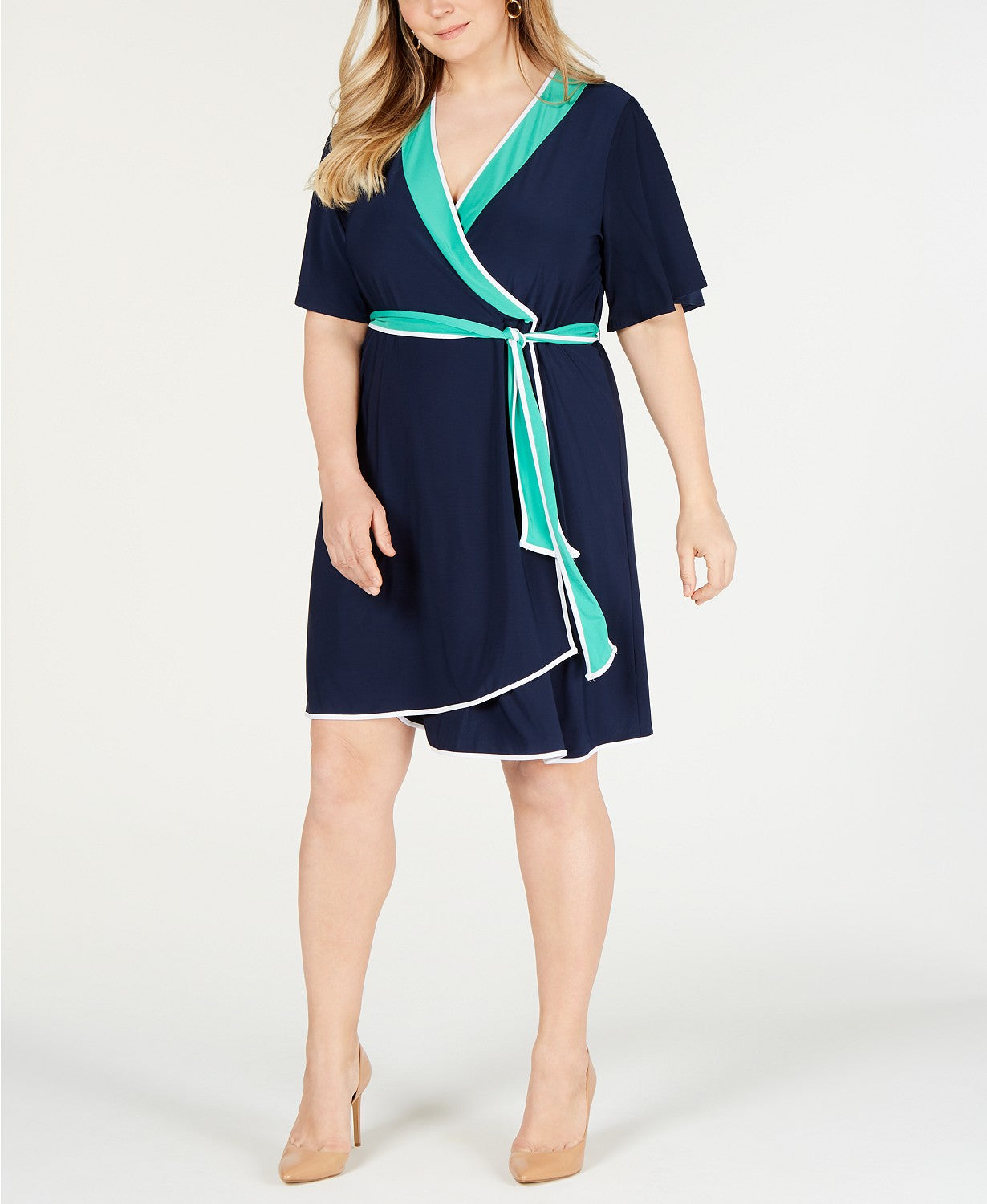 NY Collection Womens Plus Petite Flutter Sleeves Wrap Dress