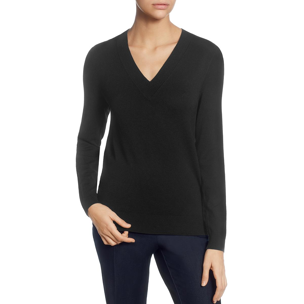 T Tahari Womens V-Neck Ribbed Pullover Sweater