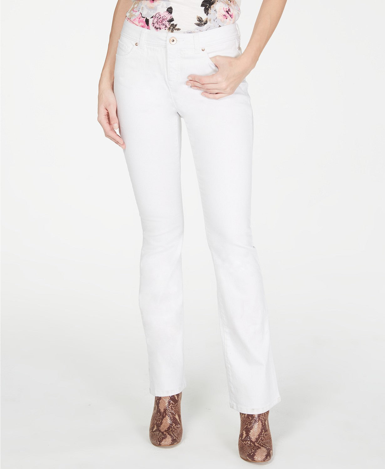 INC Petite White Boot-Cut Jeans