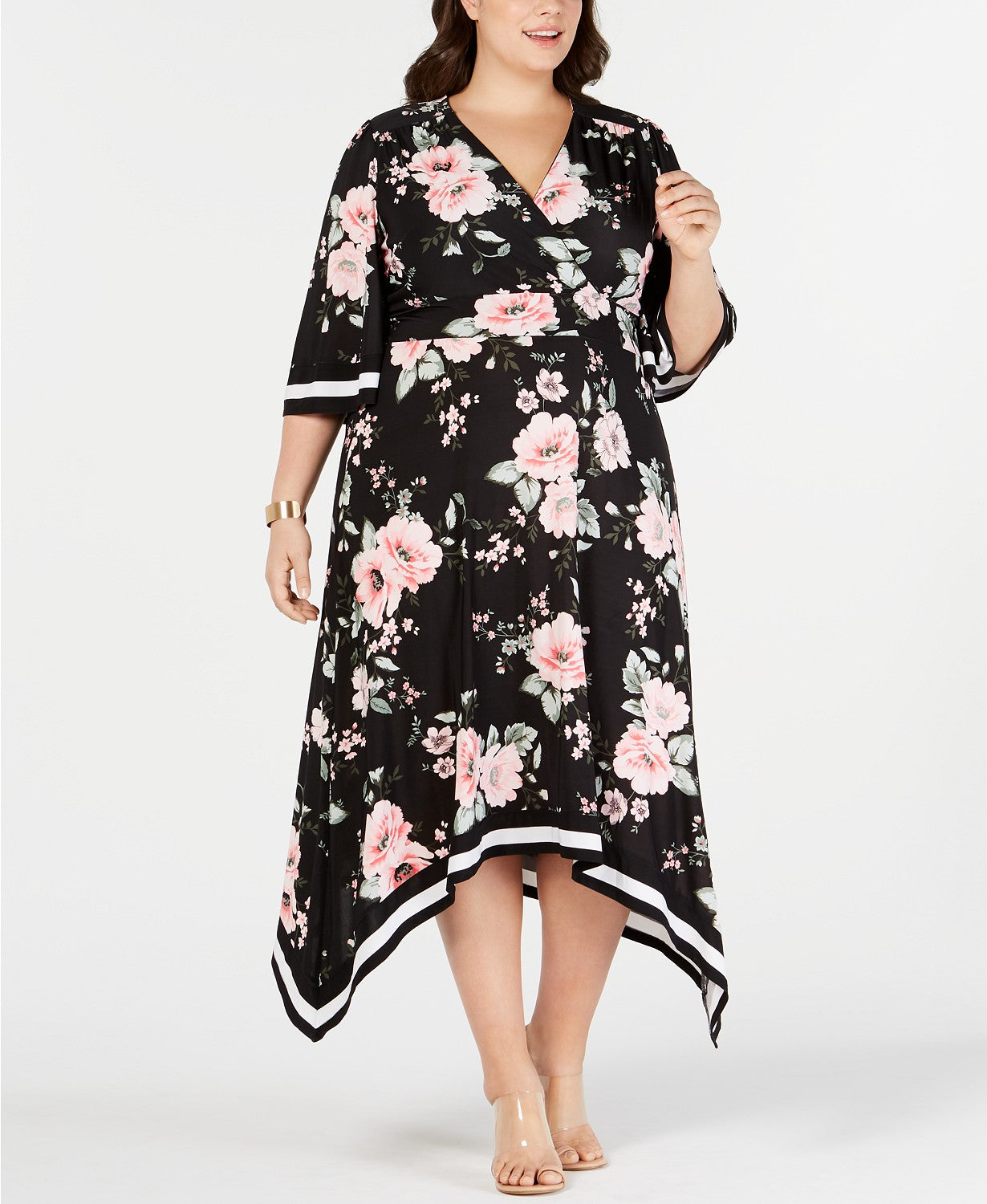 Women's Dress Plus Maxi Surplice Floral Printed