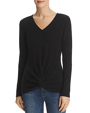 Twist-Front Cashmere Sweater