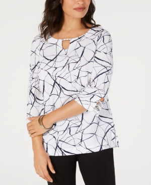Jm Collection Crinkle Texture Printed 3/4-Sleeve Top - White Party Lines