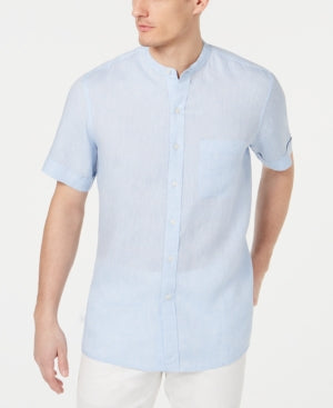 Tasso Elba Men's Crossdye Linen Banded Collar Shirt