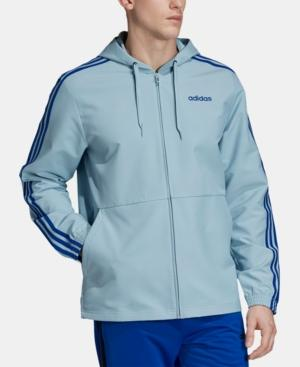 Adidas Men's Essentials Hooded Windbreaker - Ash Blue