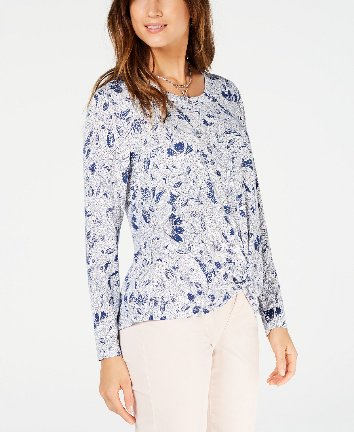 Style & Co Petite Printed Twist-Front Top