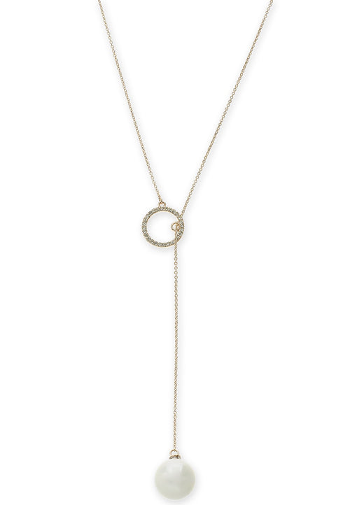 Inc Imitation Pearl And Pave Circle Lariat Necklace