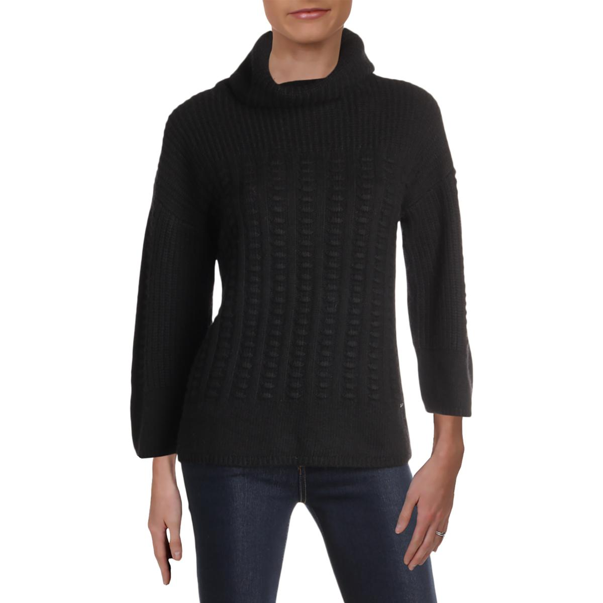 T Tahari Womens Wool Mixed Knit Turtleneck Sweater