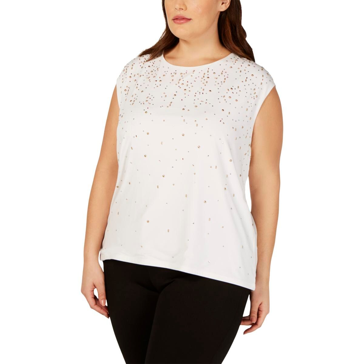 Calvin Klein Womens Studded U-Neck Pullover Top