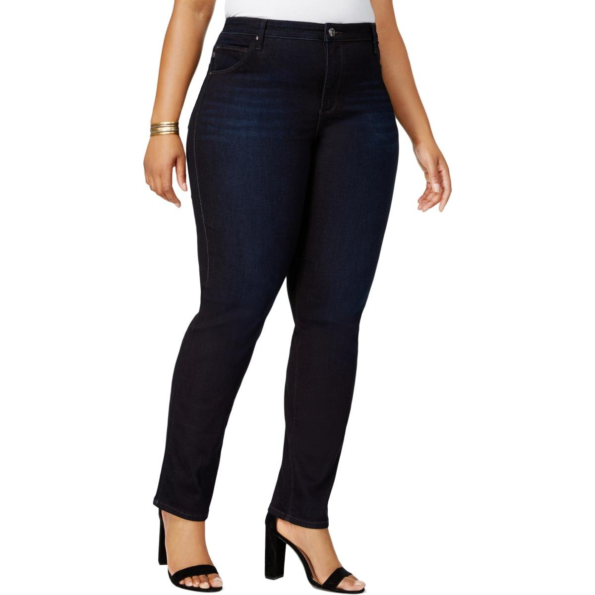 Lee Platinum Label Womens Plus Denim High-Rise Classic Straight Jeans