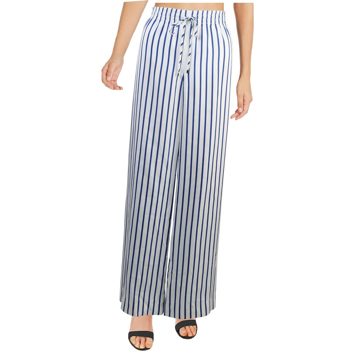 RALPH LAUREN Womens White Striped Drawcord Twill Pants