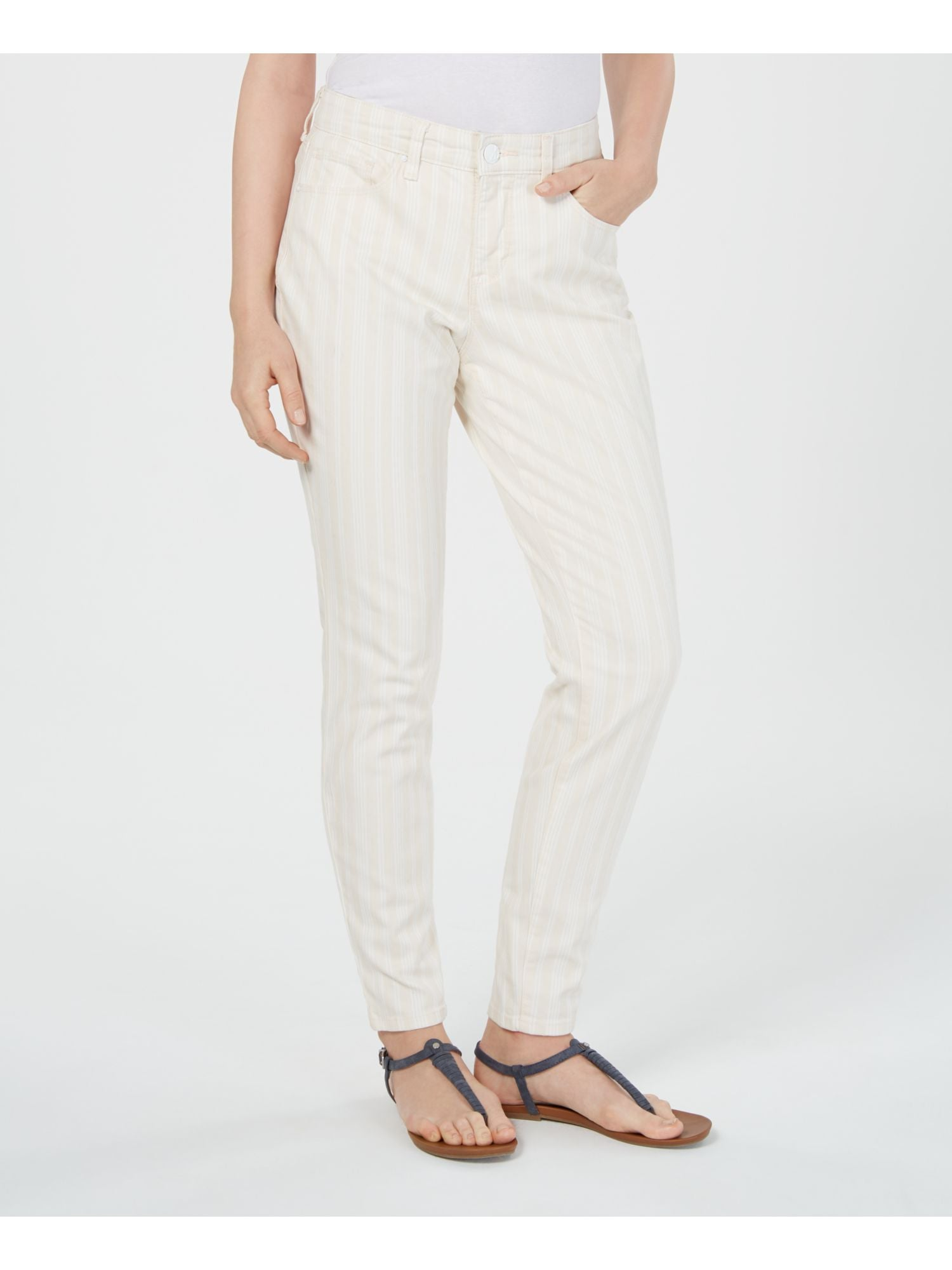 STYLE & CO Womens Beige Striped Pants