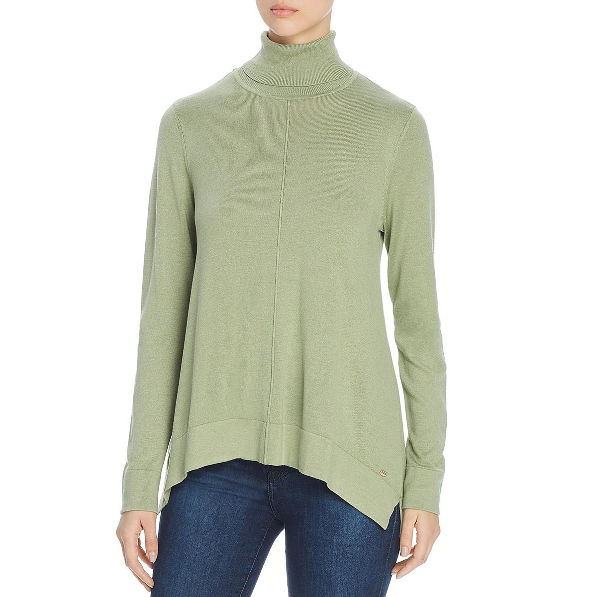 Donna Karan Womens Knit Turtleneck Pullover Top