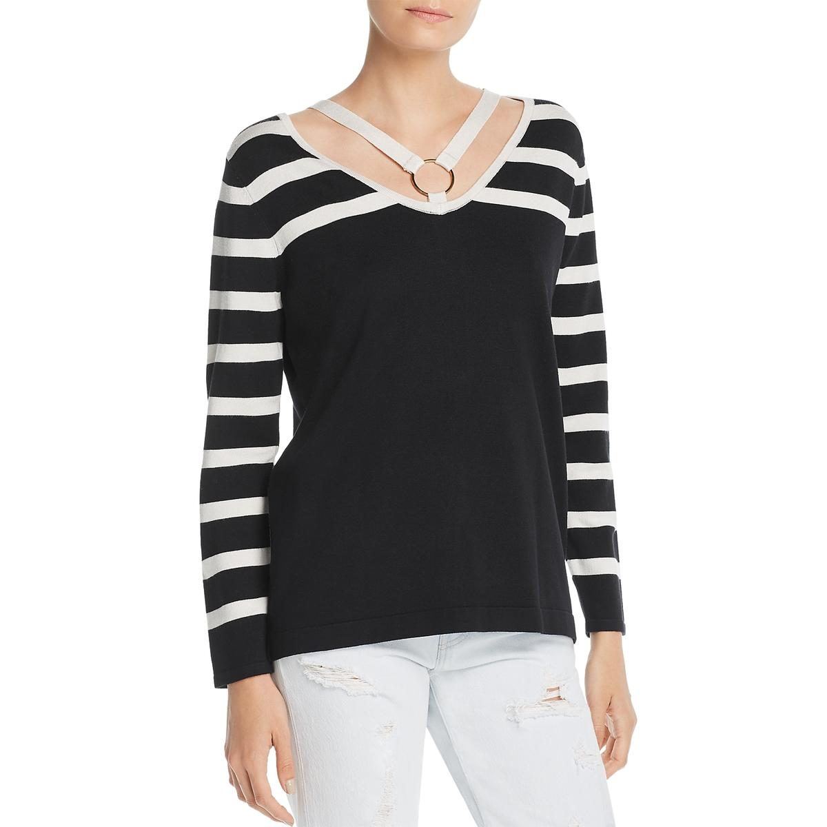 Avec Womens Striped V-Neck Sweater