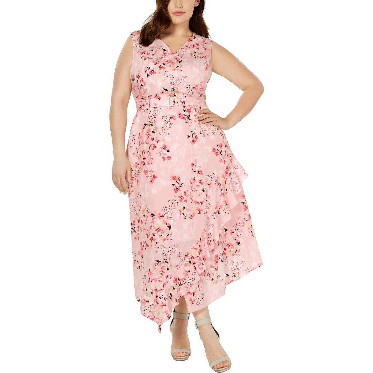 Calvin Klein Womens Plus Printed Ruffled Maxi Dress PLUS Size
