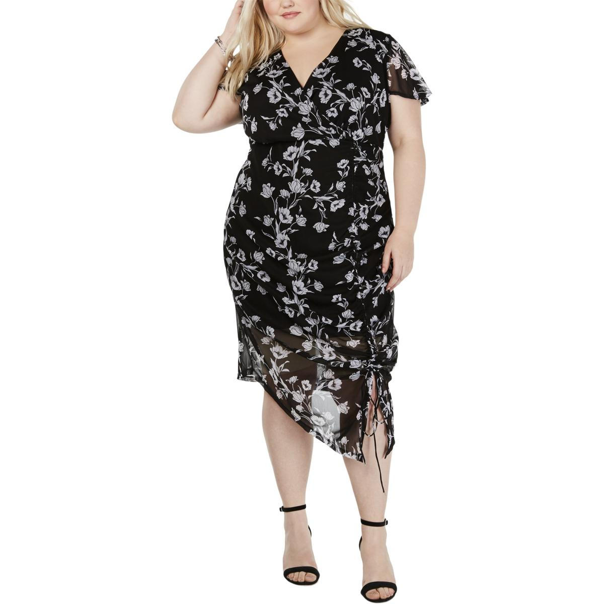 INC Womens Plus Floral Ruched Maxi Dress