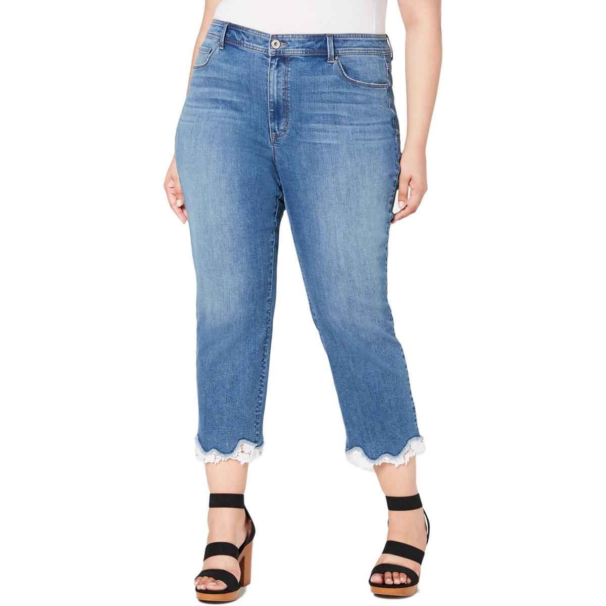 INC Womens Lace Trim Cropped Jeans
