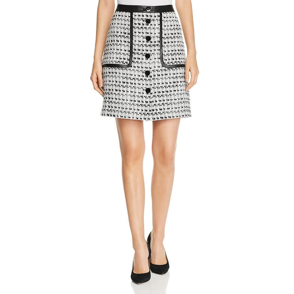 Karl Lagerfeld  Women Tweed Front Button  A-Line Skirt