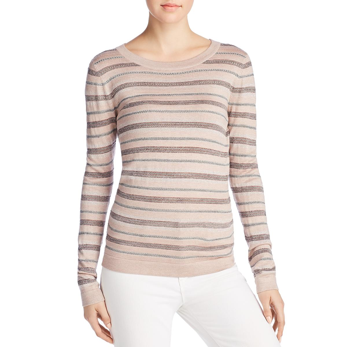 Copy of Donna Karan Womens Crewneck Striped Pullover Sweater