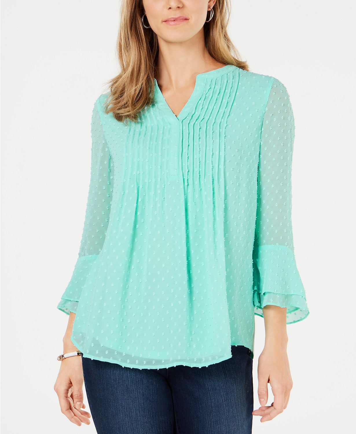 Charter Club Double-Ruffle Textured Pintuck Top