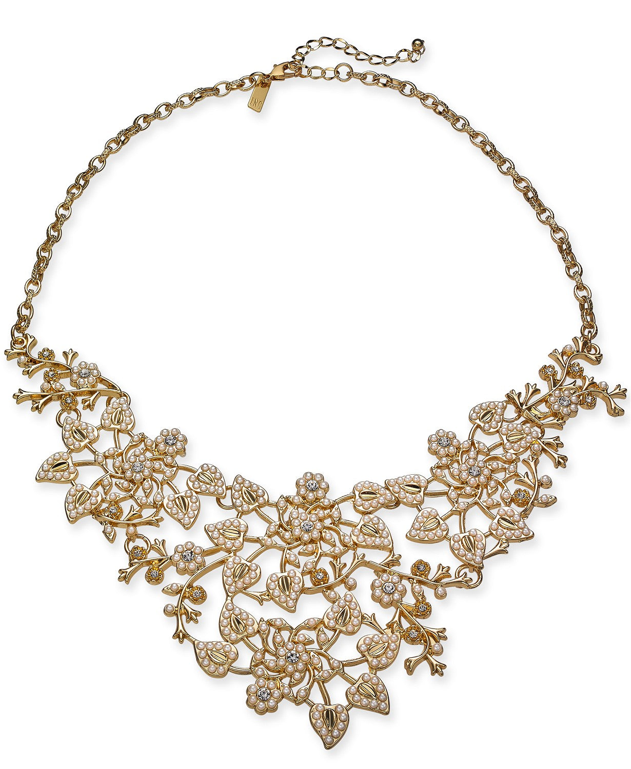 "INC Gold-Tone Crystal & Imitation Pearl Vine Statement Necklace, 18"" + 3"" extender"