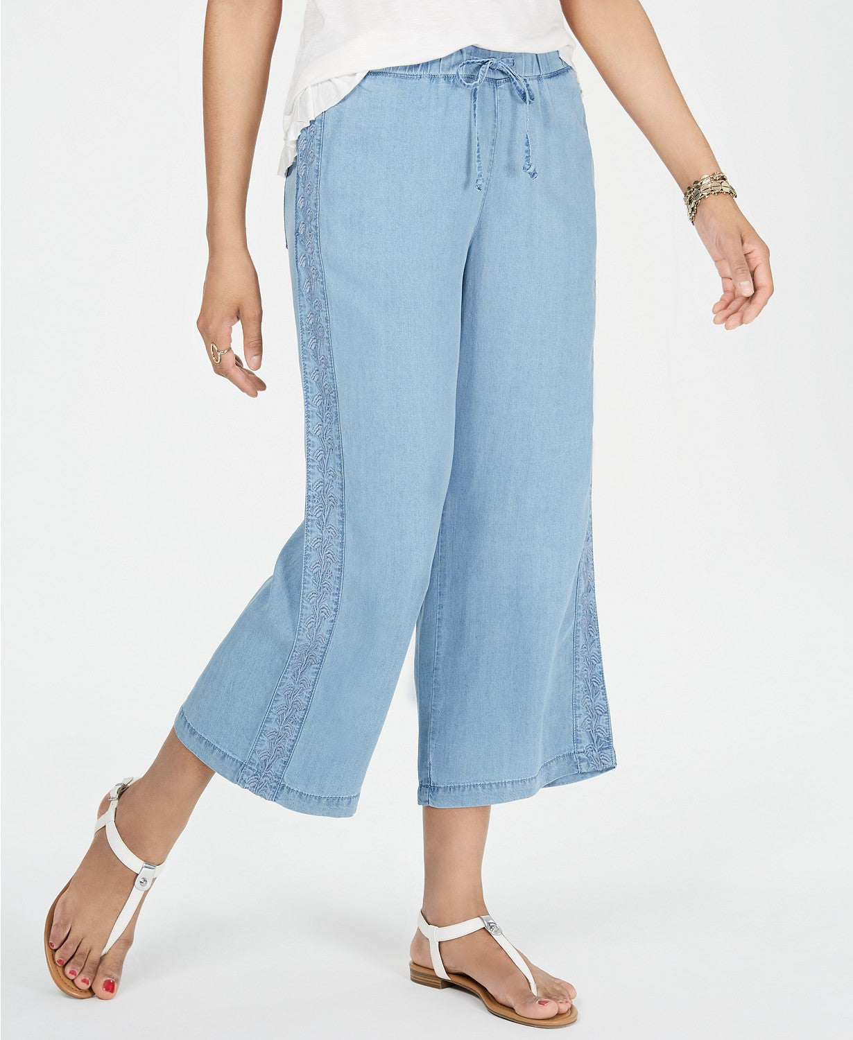 Style & Co Petite Embroidered Chambray Cropped Pants