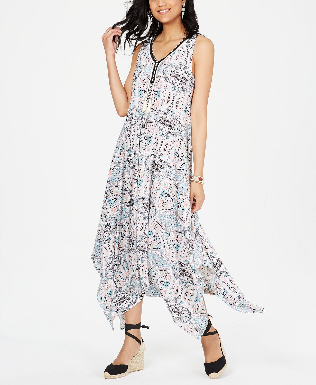Style & Co Printed Sleeveless Handkerchief-Hem MIDI Dress