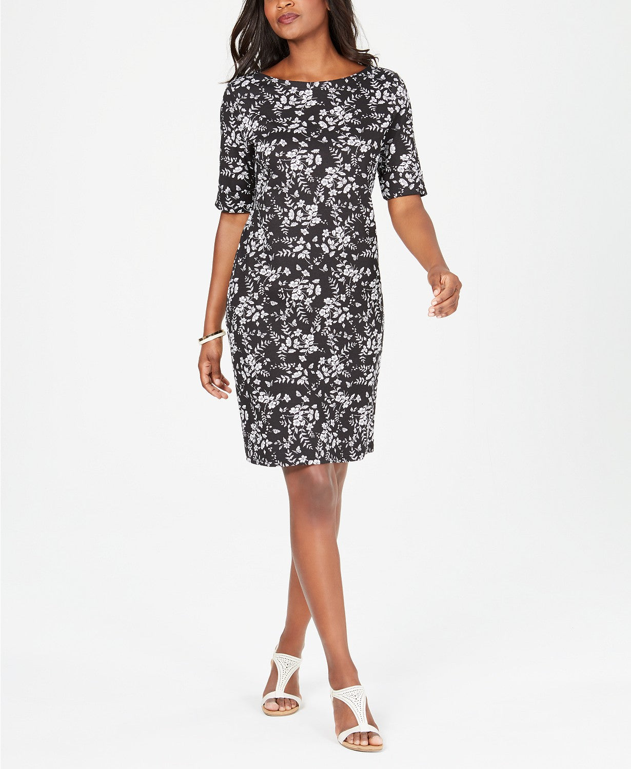 Karen Scott Petite Boat-Neck Elbow-Sleeve Dress