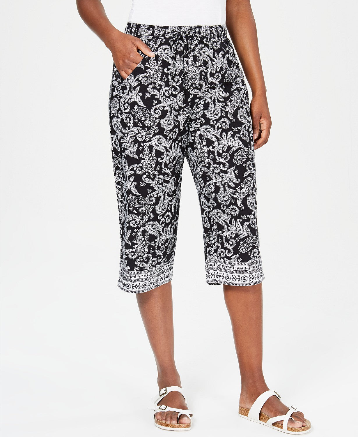 Karen Scott Paisley Parade Border-Print Capri Pants