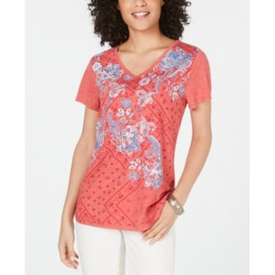 Style & Co Graphic V-Neck Top