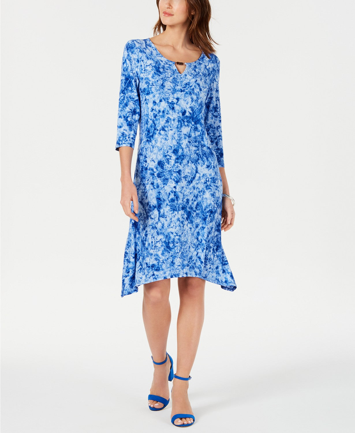 Ny Collection Petite Embellished Tie-Dyed Dress