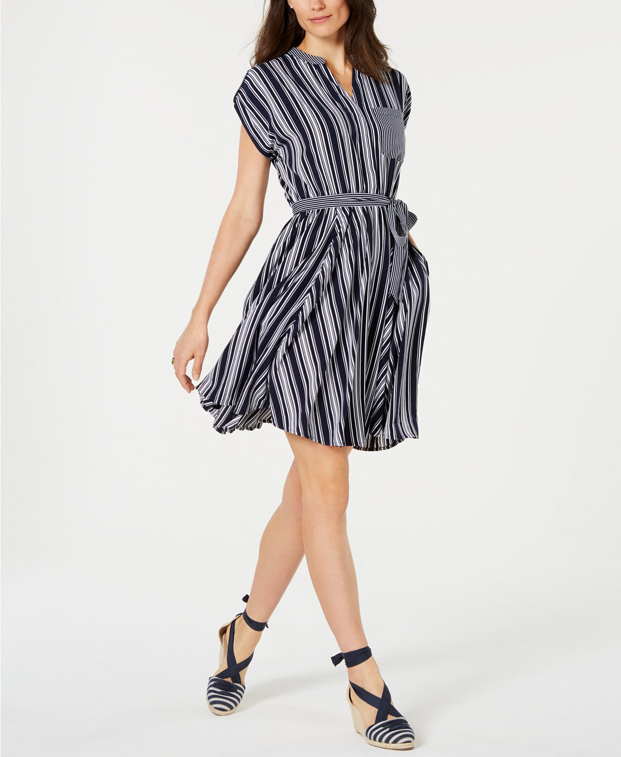 Charter Club Striped V-Neck Dress