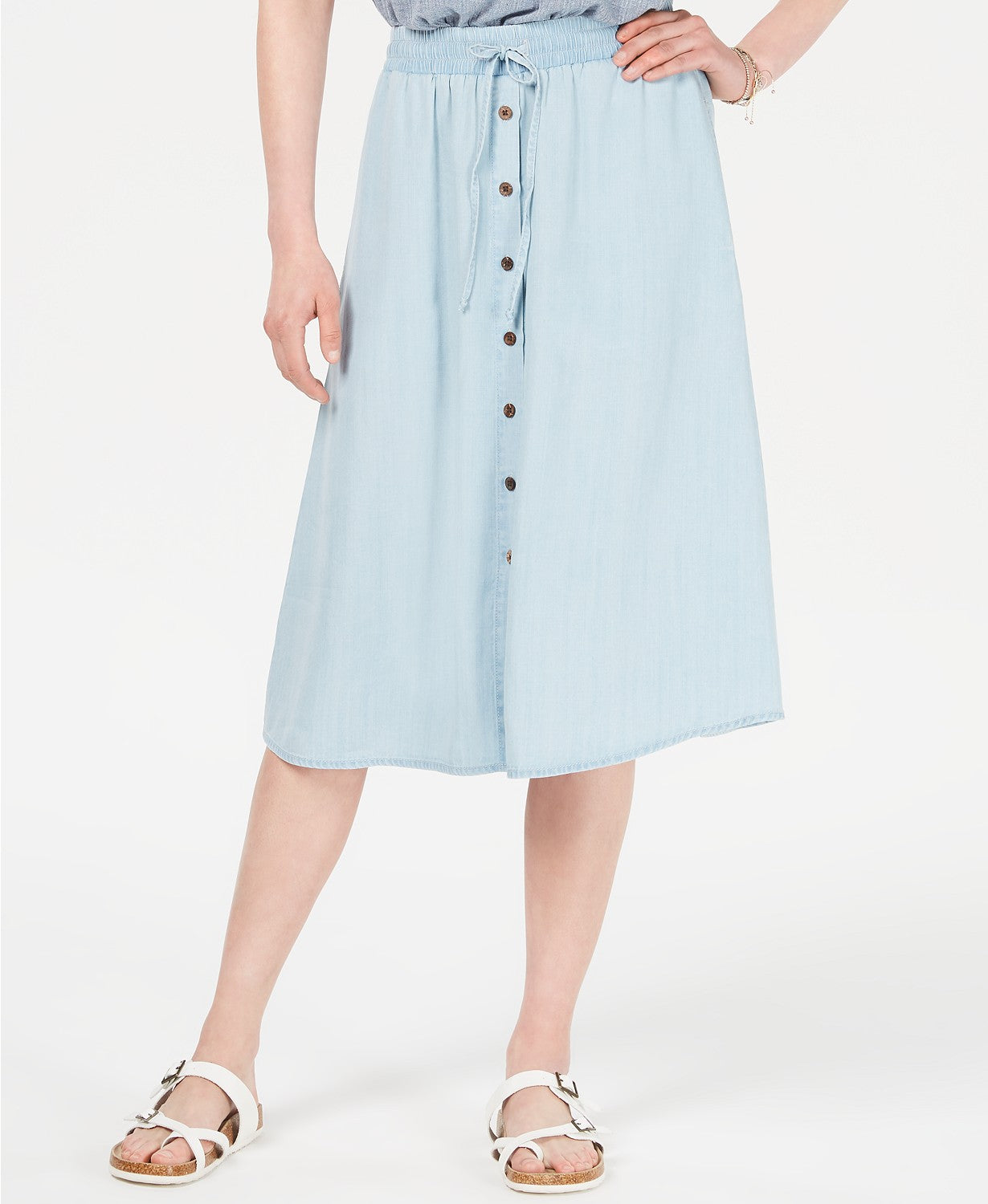 Style & Co Chambray Button-Front Midi Skirt