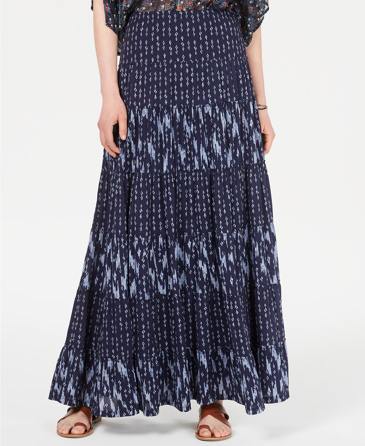 Style & Co Mixed-Print Tiered Maxi Skirt