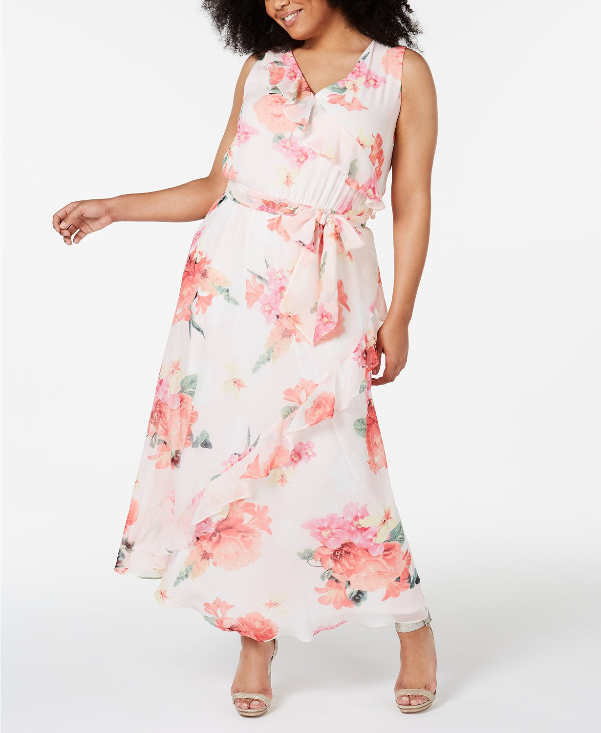 Calvin Klein Plus Size Floral-Print Ruffled Maxi Dress - Porcelain Rose