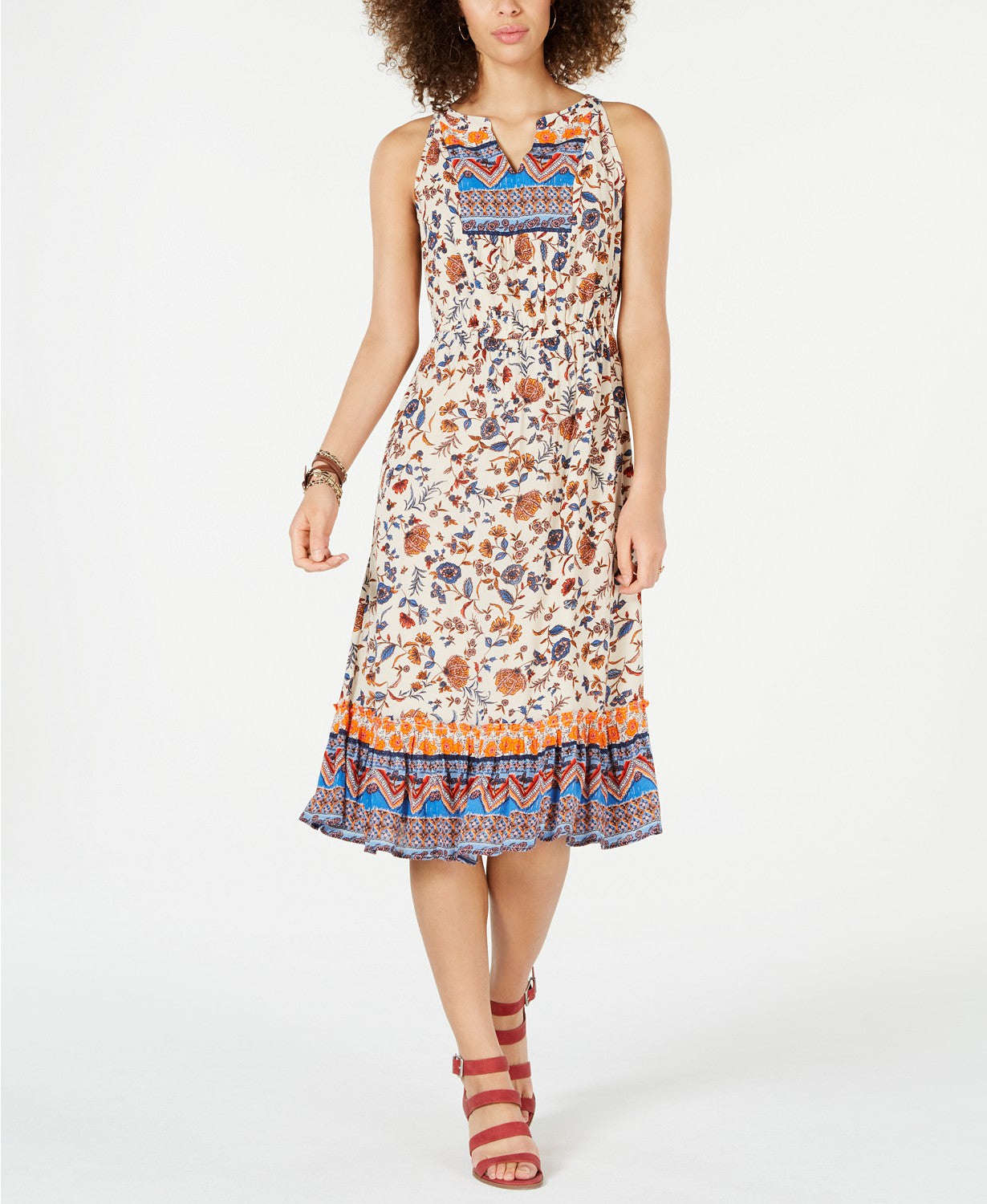 Style & Co Petite Paisley Flower MIDI Dress