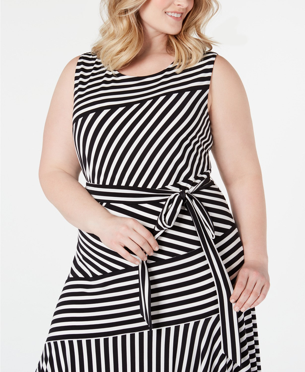 Calvin Klein Plus Size Striped Handkerchief-Hem Maxi Dress