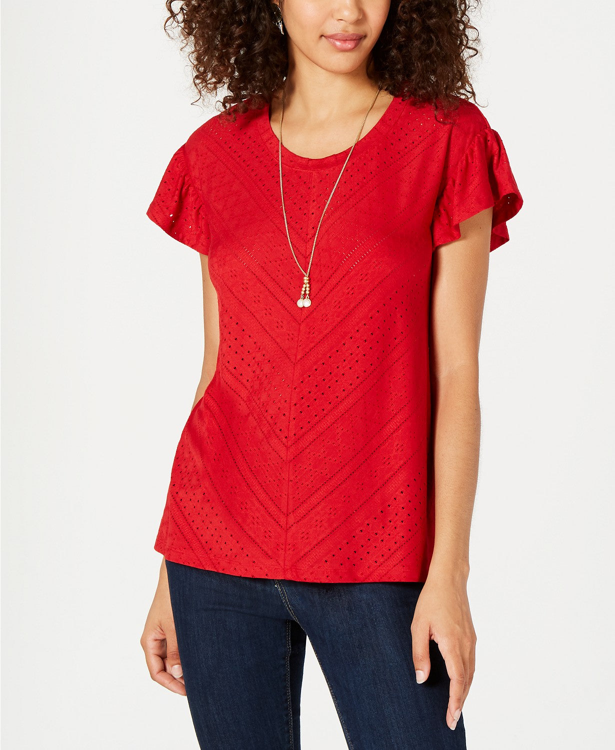 Style & Co Eyelet-Detail Flutter-Sleeve Top