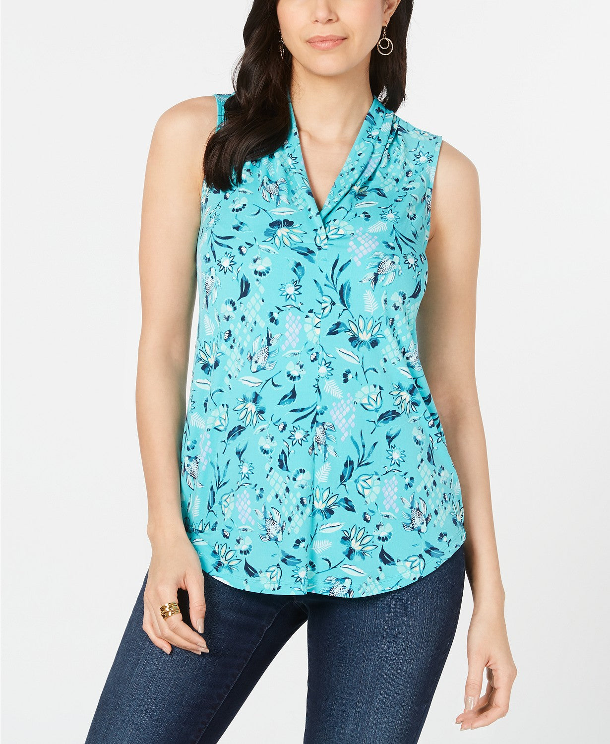 Charter Club Petite Floral-Print Top