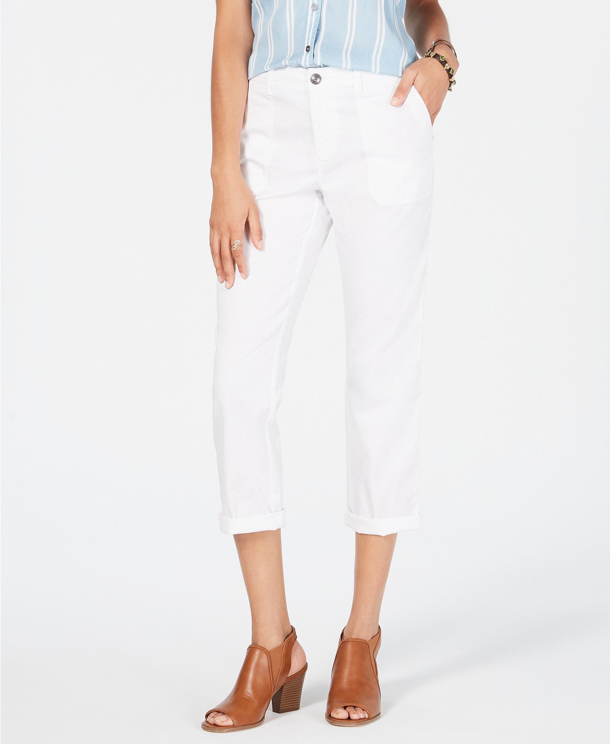 Style & Co Utility-Pocket Capri Pants - Bright White