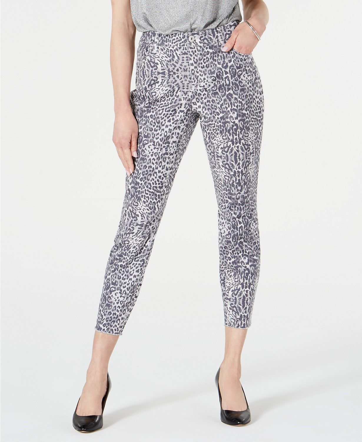 INC International Concepts INC Animal-Print Curvy-Fit Skinny Jeans