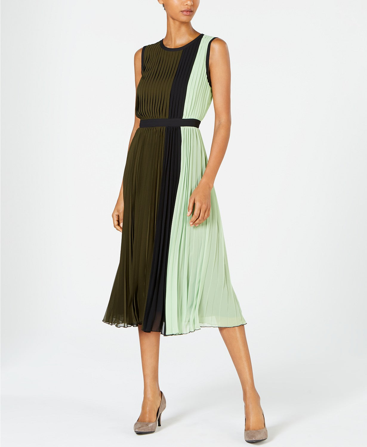 Alfani Petite Colorblocked Pleated MIDI Dress