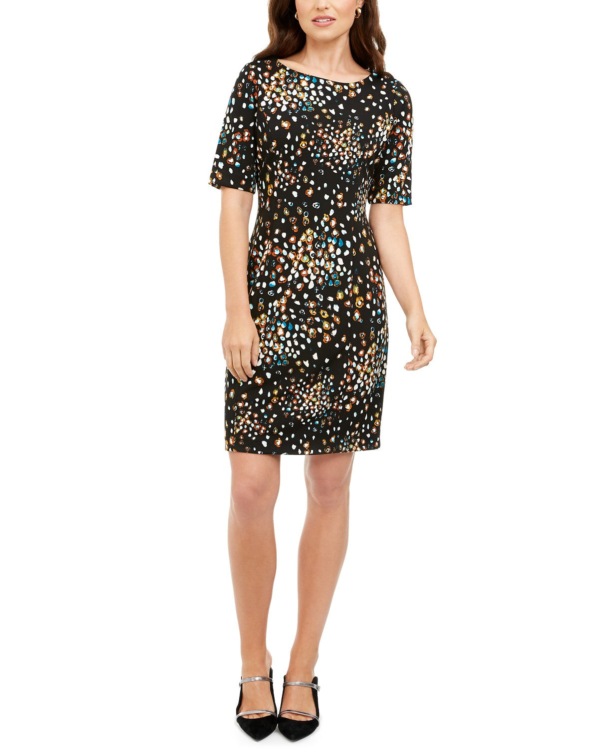 Alfani Petite Printed Short-Sleeve Sheath Dress