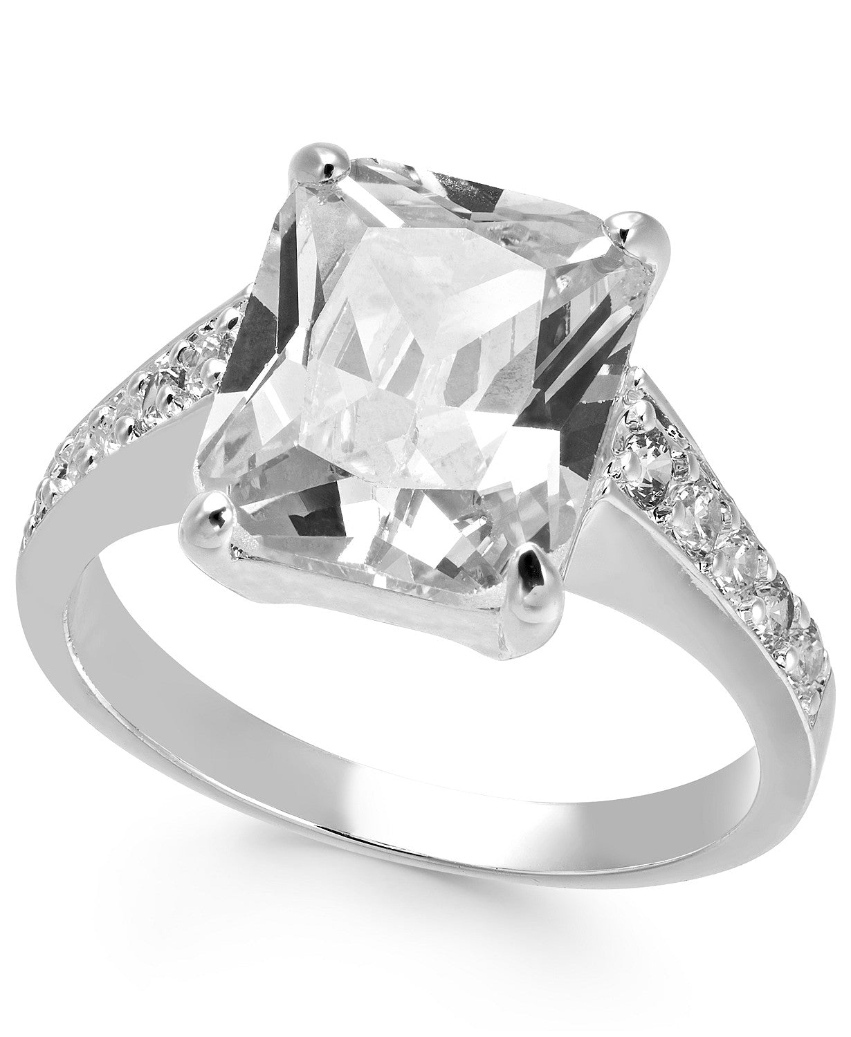 Charter Club Silver-Tone Square Crystal Band Ring,
