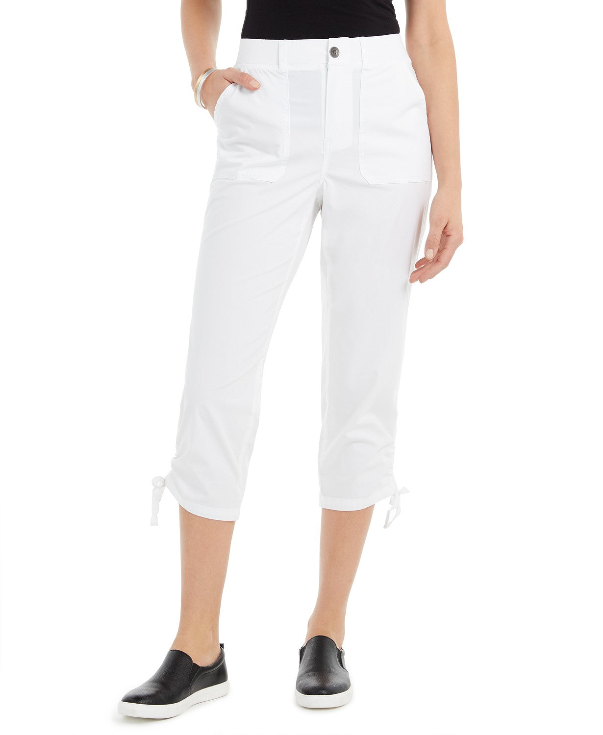 Style & Co Cropped Cargo Pants - Bright White