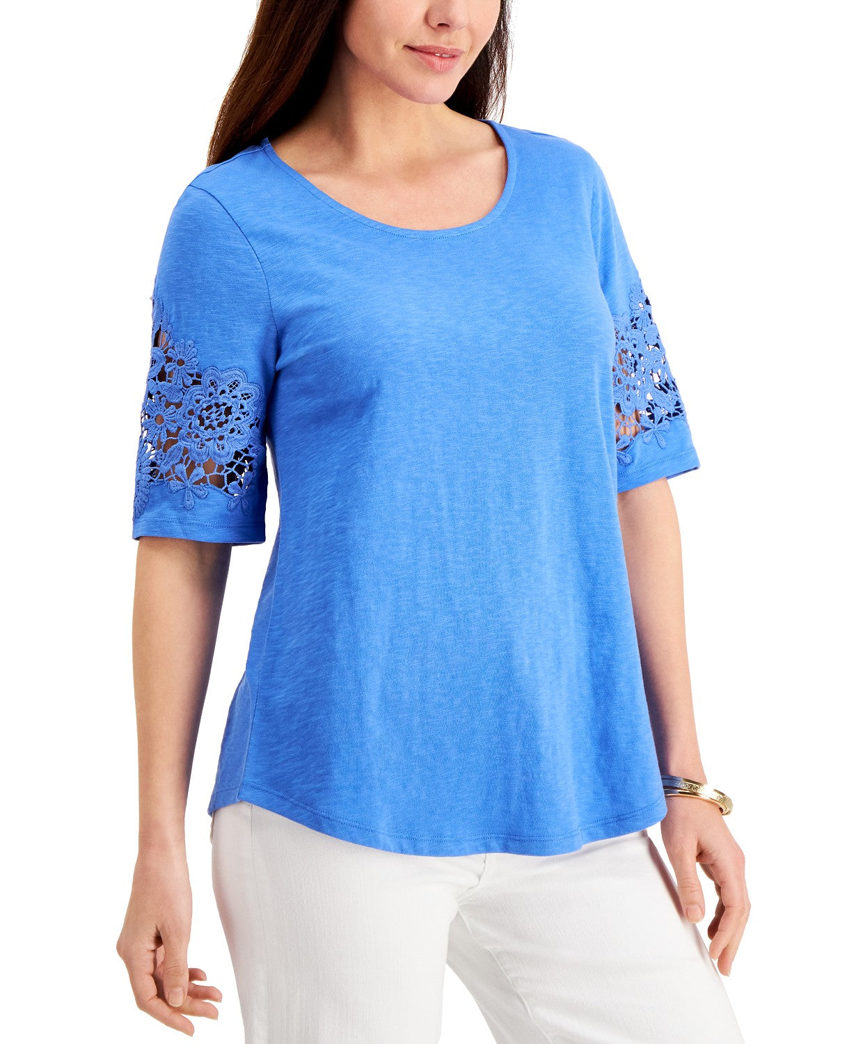 Charter Club Cotton Lace-Trimmed Top