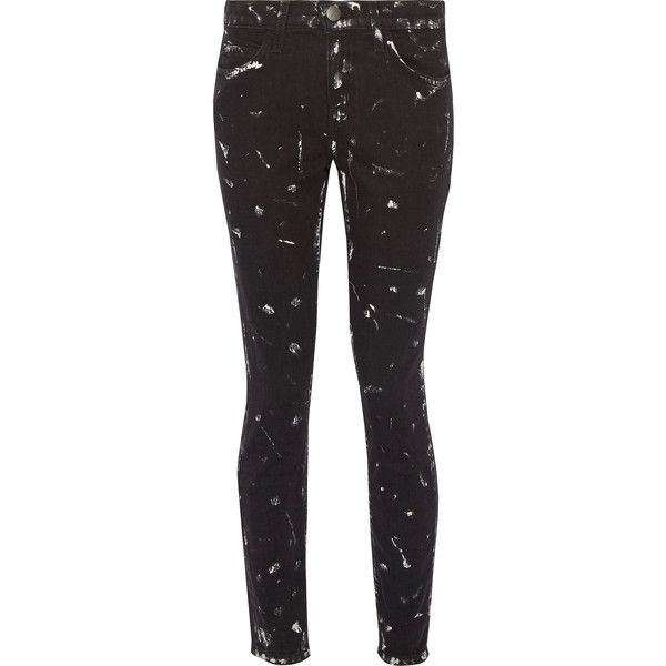 Current/Elliott - The Stiletto Paint-splattered Mid-rise Skinny
