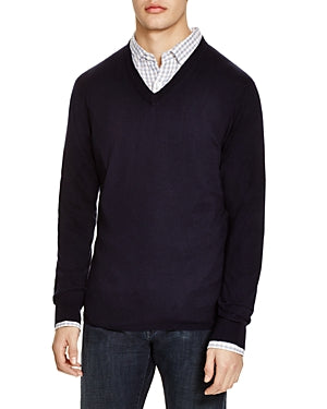 The Men's Store V-Neck Cotton-Cashmere Sweater