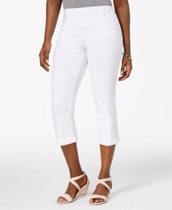 Jm Collection Petite Rivet-Detail Tummy Control Capri Pants